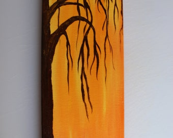 "Autumn Tree acrylic painting 4"" x 12"""