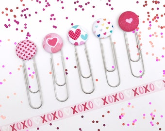 Jumbo Paperclip Bookmark. Valentine's Day Hearts. Love to Read. Ready to Ship.