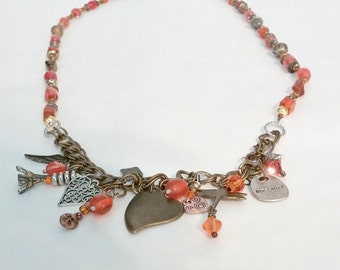 One of a Kind Orange and Bronze Charm Necklace