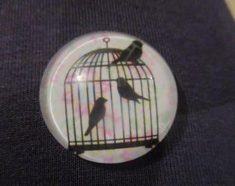 Vintage style birdcage bird cage   25 mm  glass dome  needle minders   magnet minder needle minder