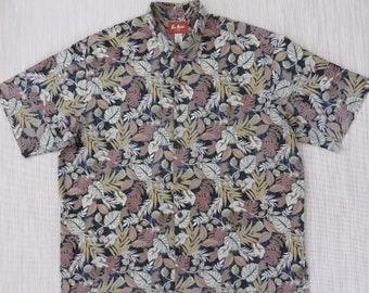 Hawaiian Shirt PAU HANA Copyrighted Floral Print Aloha Shirt Tropical Rain Forest Beach Resort Wear Mens Camp - 2XL - Oahu Lew's Shirt Shack