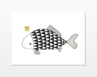 Love Fish (Triangles) - Fine Art A6 Colouring Postcard