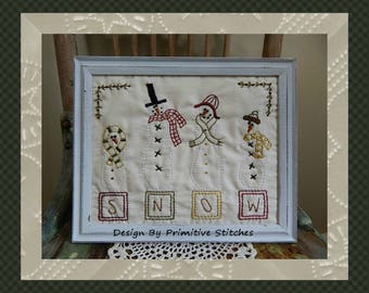 Snowman Block-Primitive Stitchery E-PATTERN-Instand Download