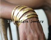 Hand Etched Gold Plated Brass Bangle- 1 single bangle - Free Shipping on 3 or more bangles