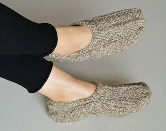 pure wool slipper socks knitted slippers knit socks wool women hand knit slippers light braun