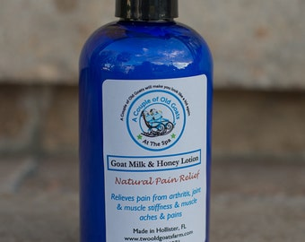 Goat Milk & Honey Natural Pain Relief lotion - 8 oz. moisturize while naturally relieving pain, muscle aches, joint stiffness.  MSM