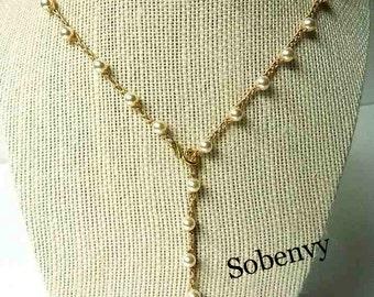 Pearl Crochet Lariat adjust Necklace, Swarovski pearls, Preppy, Classy, High Fashion Necklace