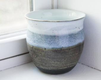 Ceramic Planter - Wheel thrown Pottery - Stoneware Clay - White, Blue, Green