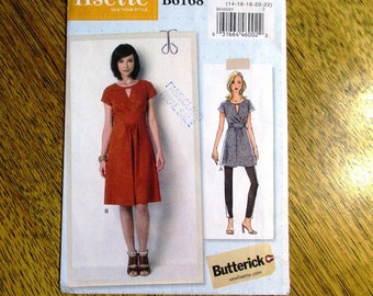 DESIGNER Lisette Dress w/ Keyhole Neckline & MODERNIST Empire Line Tunic Top - Plus Size (14 - 22) - UNCUT ff Sewing Pattern Butterick 6168