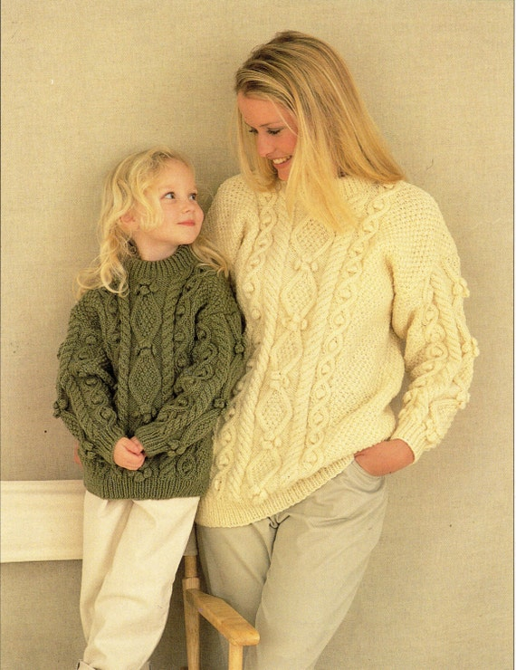 Womens Aran Sweater Knitting Pattern Pdf Download Ladies Girls