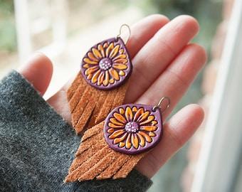 Sunflower Fringe Leather Earrings - Handmade Purple Hand Painted Leather, Suede Jewelry - Mesa Dreams - Spring Sunshine Southwest Boho