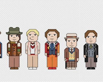 Doctor Who Cross Stitch PDF Pattern only - all the doctors Sylvester McCoy, Tom Baker, David Tennant, Matt Smith, Peter Capaldi & the Tardis