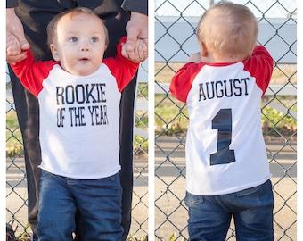 Rookie of the year birthday shirt, Baseball birthday shirt, baseball cake smash shirt, cake smash shirt, 1st birthday shirt, first birthday