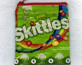 New! Skittles Ugly Sweater Edition Candy Wrapper Recycled Zippered Bag/Pouch