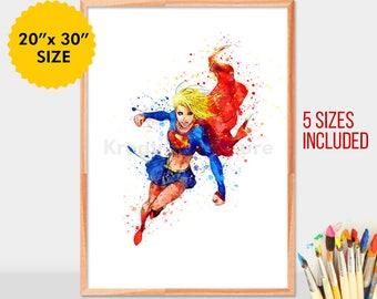 Supergirl, Superwoman, superhero, Watercolor, Movie Poster, Watercolor Painting, Supergirl Art, Watercolor Art, supergirl, wallart