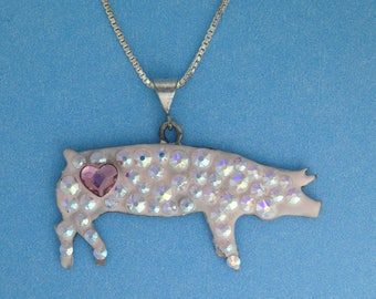 Pig / Hog cut out and enameled white with heart on butt, on an 18 inch sterling silver chain. Great for 4H and FFA kids Livestock Jewelry