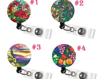 SALE !!!!! 1 pc Flower Pattern Retractable ID Badge Reel Alligator Swivel Clip ID Badge Holder - Nurse Gifts Badge Clips - floral