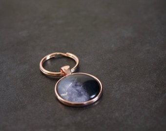 Rose Gold Moon Phase Keychain - Moon Phase Keyring - Glass Dome Key Fob Full Moon Phase Key ring Pendant Charm