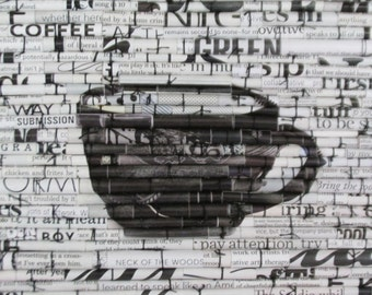 Modern wall art, Coffeehouse art, Kitchen art, Typography, Upcycled art, Recycled magazines, Rolled Paper art, Magazine Images, Black Coffee