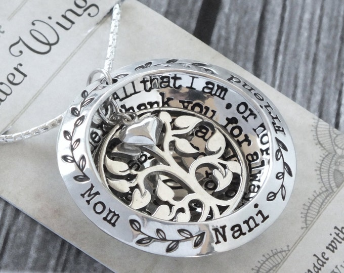 Family Tree Necklace| Sterling Silver| Christmas Gift Idea for Wife| Mothers Jewellery | Personalised Names | Childrens Names | Tree of Life