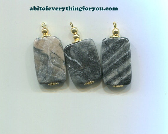 gemstone pendants stone charms gray and black marble 37mm natural jewelry making supplies