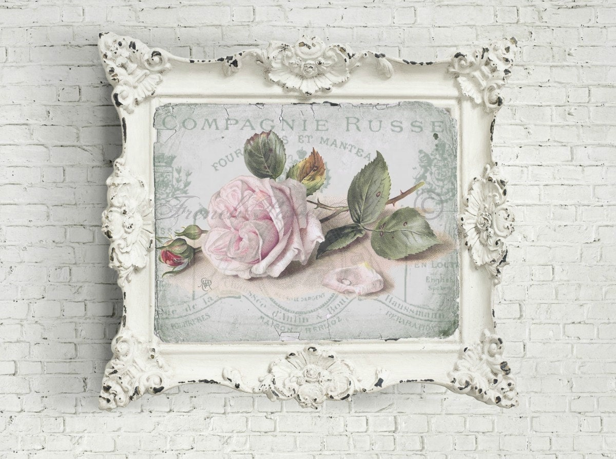 Digital Shabby Chic Rose Collage, French Letter Ephemera, Printable ...