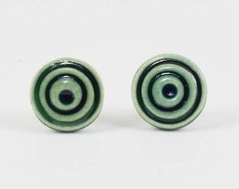 Green Ceramic Earrings | Hypnotic Stud Earrings | Handmade Pottery Round Earrings
