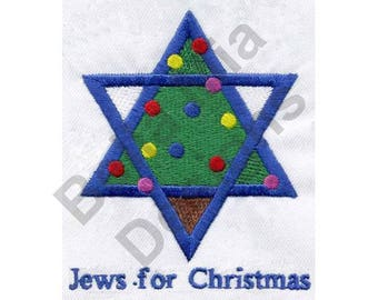 Christmas Chanukah - Machine Embroidery Design, Jews For Christmas