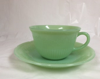 Cup and saucer, Jadeite Fire King Oven Glass, Anchor Hocking, Alice pattern