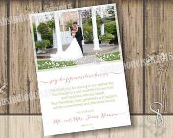 wedding thank you card pink and sage green