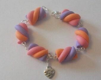 Sweet Marshmallow pink, orange, purple bracelet