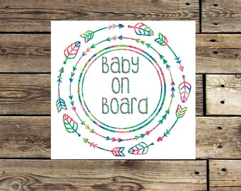 Baby on board decal | lilly decal | baby on board flower decal | baby on board arrows | baby on board car decal | baby window sticker | baby