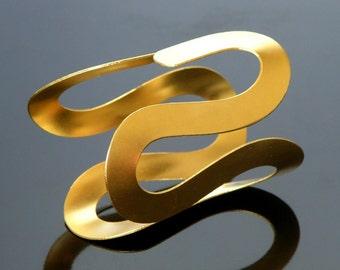 Wide Metal Cuff - Swirl Design -  Gold Plated - Silver Plated -  Modern Bracelet  - Twist Design Metal Cuff - Chic Fashion Accessory - Gift