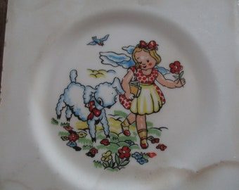Vintage - old Wheeling Tile Mary had a little lamb on her way to school with her books.  This is old marked WHEELING