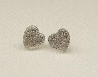ns-CLEARANCE - Clear Sparkle Heart Stud Earrings