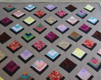 crochet afghan pattern -  mitered squares stashbuster crochet blanket pdf file crochet quilt Grovers Corners Afghan crochet pattern pdf file