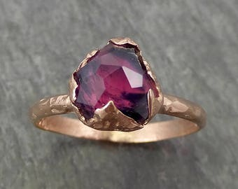 Partially Faceted Sapphire Solitaire 14k rose Gold Engagement Ring Wedding Ring Custom One Of a Kind Gemstone Ring 0699