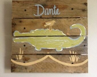 Small Alligator,14x14,Crocodile,Rustic Wall Art on Wood,Pallet art,Animals,wooden plank,Customize,boy,rustic,nursery,kids room,safari decor
