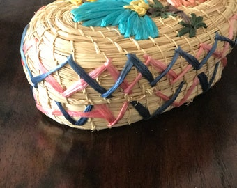 Vintage Basket with Lid, Woven basket with lid, Boho Basket with lid
