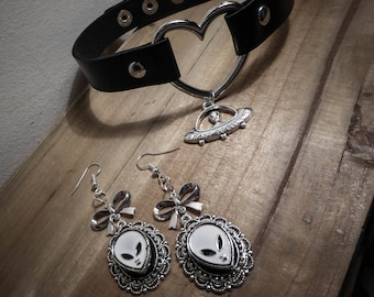 Necklace leather heart silver alien I want to believe ♠ ♠