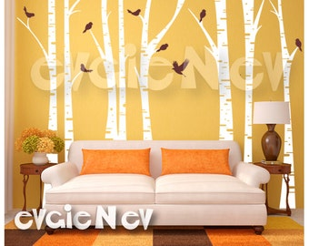 Forest Wall Decals - Trees wth Birds Wall Stickers - TRFR010R