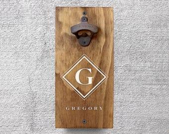 Monogram Bottle Opener, Custom Wood Bottle Opener, Bottle Opener, Gifts for Him, Wall Mounted Bottle Opener, Gifts for Men (GA8012)