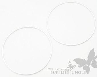 A308-02-MR// Matt Rhodium Plated Round Link, 4pcs
