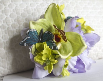 Exotic Purple and Green Orchid and Cherry Blossom Hair Flower Clip // Statement Piece // Luxury Hair Accessory // Chic Hair Styling Product