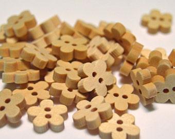 Flower buttons, Flower shaped wooden buttons - WB011