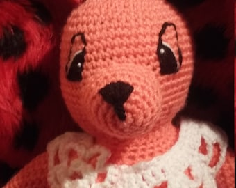 Large plush or amigurumi Bunny coral