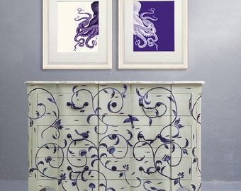 Nautical art prints - Purple Octopus Prints Purple and Cream Set of 2 Beach Decor bathroom Decor Nautical Decor Wall Art Beach House Decor