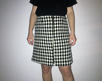 90s Black and White Checkered Skirt