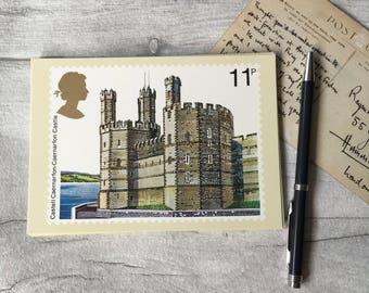 British vintage postcard, vintage postcards, historic buildings UK, caernarfon castle, greeting card, paper ephemera, antique postcards UK