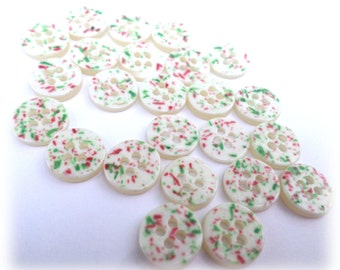 24 Fun-Fetti Colorful Buttons Sew Thru Buttons for Sewing Crafts Scrapbooking Cardmaking Jewelry